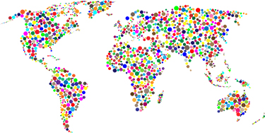 world atlas with colored dots